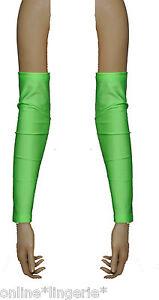 Green Lime UV FLO Neon Arm Wrist Warmers Glove Gauntlet Fingerless Trance Psy G7