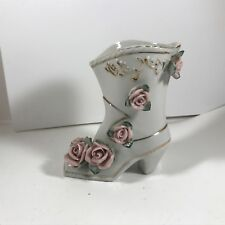 """Vintage Ceramic Women's White Boot With Pink Roses Planter 5"""""""