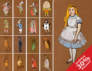 Vintage Alice in Wonderland Illustrations kids nursery wall art posters A6 A5 A4