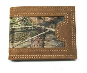 Mossy Oak Camo Billfold Wallet - Leather & Nylon with Box