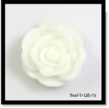 20mm Resin Rose Flower Cabochon Cameo Flatback DIY jewellery r2 - White -2pcs