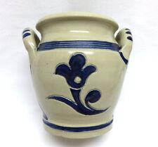 Vintage Williamsburg Pottery 2 Handle Blue Floral Salt Glazed Crock / Vase MINT