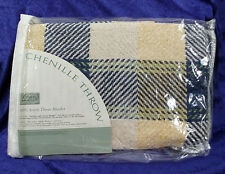 Chenille Throw Acrylic Afghan Navy Beige Jacquard Woven Plaid JC Penney 42 x 65
