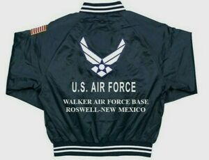 WALKER AFB*ROSWELL-NEW MEXICO THUNDER*AIR FORCE EMBROIDERED 2-SIDED SATIN JACKET
