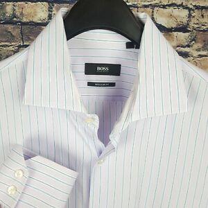 HUGO BOSS Mens Lavender Striped L/S Dress Shirt 16-34