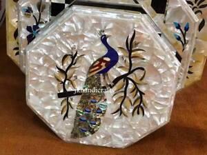 "18"" Marble Coffee Table Top Seashell Inlay Handmade Furniture Hallway Decor Gift"