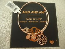 Alex and Ani PATH OF LIFE IV Rose Gold Charm Bangle New W/ Tag Card & Box