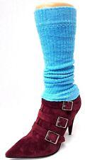 GUÊTRES CHEVILLERES 30cm coton bleu aqua danse gym femme ado enfant hiver NEUF