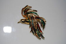 SPECTACULAR RUNWAY BOLD MULTICOLORED FIRE BIRD GOLD TONED METAL PIN BROOCH