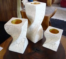 Kerzenleuchter 3er Set für Teelichert aus Mangoholz Kerzenständer Teelichhalter