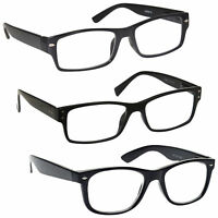 Mens Gift Pack 3 Large Designer Style Reading Glasses Spring Hinges UV Reader