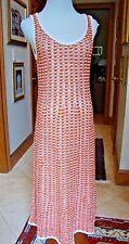 NWT$550 TORY BURCH New Ivory Samba Orange Crochet-Like, M, 8 Lined MADDIE DRESS