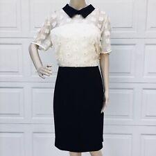 Karl Lagerfeld Paris SZ L 12 14 Floral Applique Dress Sheath Black Ivory NEW
