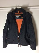 Ladies Black Superdry Hooded Jacket With Orange Fleece Lining (Size M 8-10* UK)