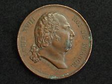 MEDAILLE CUIVRE CAUNOIS.F. - DE PUYMAURIN.D. - MORT DE LOUIS XVIII 1824 - 37mm