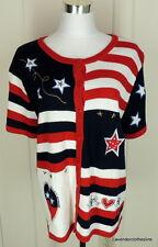 Knit & Pearl XL 18 20 Patriotic 4th Of July Stars Stripes USA Flag Sweater