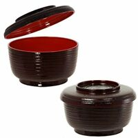 Japanese Ohitsu Lacquer Rice Serving Bowl with Lid Container, Made in Japan