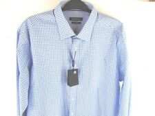 Bugatchi Men's Blue+White Shaped Fit XXL 2-Ply Cuff&Collar Retail $179 NEW NWT