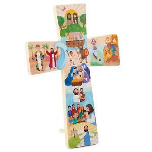 Hallmark My Bible Stories Cross Wood Sign 7.25x10.5 NEW
