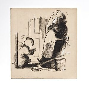 A Early 20th Century Illustration Cartoon Of Crying Baby With Mother Drawing