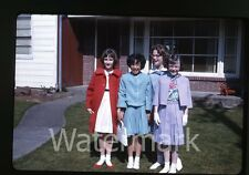1964 Kodachrome Photo slide Young Girls in front of house