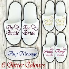 WHITE WEDDING SLIPPERS PERSONALISED GLITTER BRIDAL SPA OPEN TOE BRIDESMAID TIR