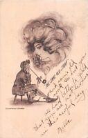 PIPE SMOKE FORMS WOMAN'S FACE~ COBB SHINN ARTIST SIGNED FANTASY POSTCARD 1910