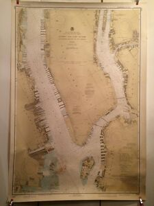 Vintage 1982  Nautical Hudson Map - East Rivers Governors Island to 67th Street