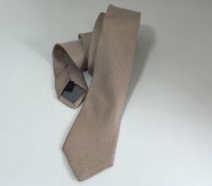 JIL SANDER Pale Beige / Ivory Shimmer Slim / Slim Woven Silk Neck Tie