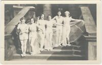 1920s Women in Dance Costumes on Steps Real Photo Postcard