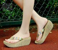 Ladies Fashion Casual Wedge Platform Thong Flip Flops Slippers Sandals Beach