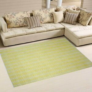 5' x 8' Rug | Hand Woven Indoor Outdoor White yellow 100 % Polyester Area Rug