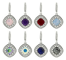Sterling Silver Rhombus Earrings Hooks made with 4470 10mm Swarovski® Crystals