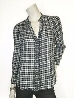 Joie XS Black White Plaid Button V Neck Long Sleeve Top Shirt Blouse Ruffle