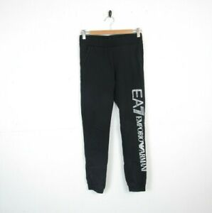 Emporio Armani EA7 Boys Black Tracksuit Bottoms Size 14years (used) Faded Logo