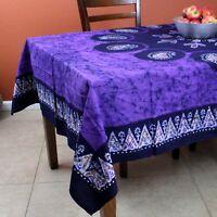 Multi Batik Floral Paisley Tablecloth Rectangular Cotton 60x90 inches Purple