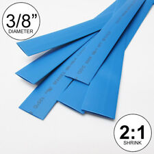 "3/8"" ID Blue Heat Shrink Tube 2:1 ratio wrap (6x9"" = 4 ft) inch/feet/to 10mm"