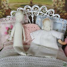 Vtg Dollhouse ARTISAN SUEDE LEATHER DOLL Girl Boy Miniature Lot Handmade Antique