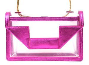 SAINT LAURENT Clear PVC & Fuchsia Pink Metallic Leather MINI BETTY Bag