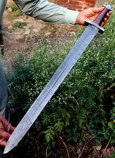 Damascus Knife Custom Handmade  - 32.00 Inches Rose Wood Handle Viking Sword