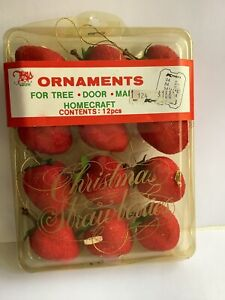 Vintage Sugar Frosted Fruit Red 12 Strawberries Ornament Christmas  Craft NIP