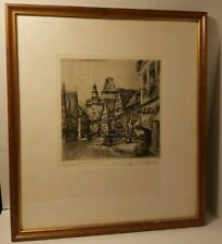 Paul Geissler Etching of City Street, Signed 1920 Framed