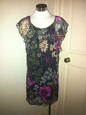 Butler & Wilson QVC Black Floral Print Silk Tunic Size XSmall New