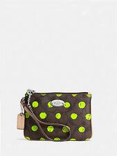 NWT Coach Dot Print Wristlet in Brown/Neon Yellow F 52581