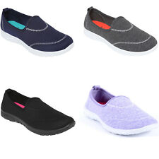 Womens Walking Slip On Trainers Memory Foam Ladies Plimsolls Espadrilles Shoes