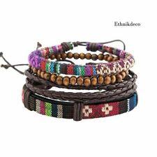 Ensemble de 4 bracelets Ethniques Tibétains en cuir, bois et tissu