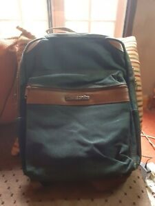 samsonite backpack, green with brown piping, reasonable condition