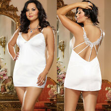 Plus Size Lingerie One Size Queen White Microfiber Chemise 2 Piece Set  DG9163X