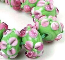 Lampwork Handmade Glass Bead Pink Flower Rondelle Beads (12)