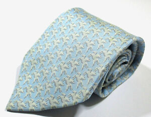 Hermes Paris 5182 IA Pegasus Animal Pattern Blue Color Silk Long Necktie Tie